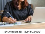 close up of female accountant... | Shutterstock . vector #524502409