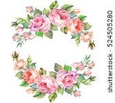 bouquet of roses.watercolor.... | Shutterstock . vector #524505280