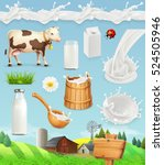 milk and farm. bottle  glass ... | Shutterstock .eps vector #524505946