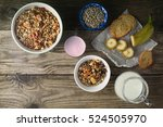 breakfast with granola on the... | Shutterstock . vector #524505970