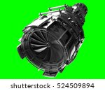 Small photo of Jet engine turbine blades of plane, aircraft concept, aviation and aerospace industry, isolated