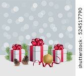 christmas gift boxes with... | Shutterstock .eps vector #524517790