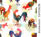 seamless pattern with fire cock ... | Shutterstock . vector #524518138