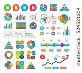Business charts. Growth graph. Sale price tag icons. Discount special offer symbols. 10%, 20%, 30% and 40% percent discount signs. Market report presentation. Vector