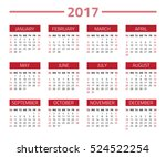 calendar 2017 year isolated on... | Shutterstock .eps vector #524522254