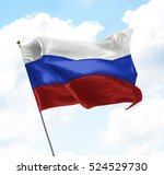 flag of russia raised up in the ... | Shutterstock . vector #524529730