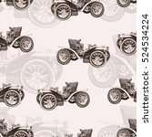 vintage car seamless pattern ... | Shutterstock .eps vector #524534224
