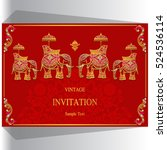 indian wedding invitation ... | Shutterstock .eps vector #524536114
