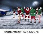 red santa claus on airport and... | Shutterstock . vector #524539978