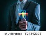 businessman pressing  scan bar... | Shutterstock . vector #524542378