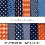 marine seamless vector pattern | Shutterstock .eps vector #524543764