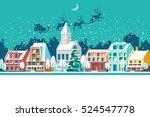 village in christmas  banner on ... | Shutterstock .eps vector #524547778