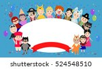 festive background with kids in ... | Shutterstock .eps vector #524548510