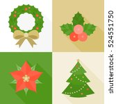 christmas ornament flat design... | Shutterstock .eps vector #524551750
