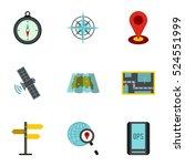 gps icons set. flat...   Shutterstock . vector #524551999