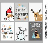set of christmas cards with... | Shutterstock .eps vector #524552794