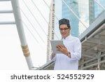 young asian muslim businessman... | Shutterstock . vector #524552929