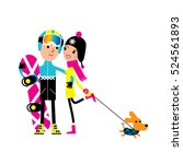 snowboarder man and young woman ... | Shutterstock .eps vector #524561893