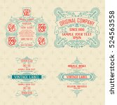 4 old vintage card with floral... | Shutterstock .eps vector #524563558
