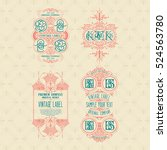 4 old vintage card with floral... | Shutterstock .eps vector #524563780
