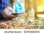 hand touch screen smart phone.... | Shutterstock . vector #524568343