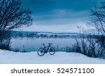 Cycling On Lake. Winter