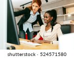 businesswoman advising... | Shutterstock . vector #524571580