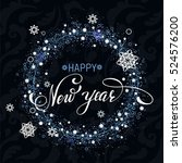 new year snowflakes background. ... | Shutterstock .eps vector #524576200