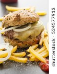 homemade cheeseburger with...