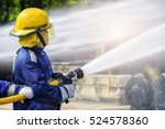 the beside view of firefighters ... | Shutterstock . vector #524578360