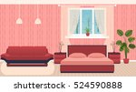 bright colors bedroom interior... | Shutterstock .eps vector #524590888