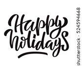 Happy Holidays Black Ink Brush...