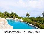public swimming pool at seaside ... | Shutterstock . vector #524596750