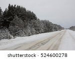 Winter Road With Snow Covered...