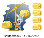 libra and funny rabbit. rabbit...   Shutterstock .eps vector #524600914