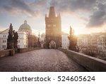 sunrise on charles bridge in... | Shutterstock . vector #524605624