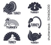 set of turkey stylized graphic... | Shutterstock .eps vector #524606200