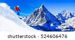 man skiing on fresh powder snow ... | Shutterstock . vector #524606476