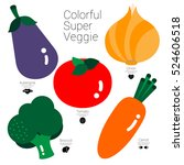 colorful super veggie five... | Shutterstock .eps vector #524606518