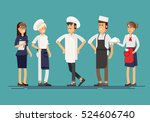 line up group of restaurant... | Shutterstock .eps vector #524606740