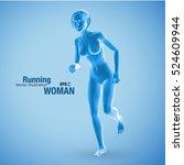 3d running woman  blue colored .... | Shutterstock .eps vector #524609944