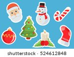 set of christmas stickers vector | Shutterstock .eps vector #524612848
