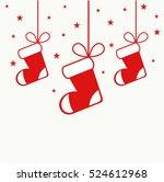christmas stockings hanging... | Shutterstock .eps vector #524612968