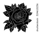 flowers roses  black and white. ... | Shutterstock .eps vector #524613256