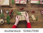 wrapped gifts with christmas... | Shutterstock . vector #524617030