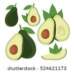 avocado set. cartoon vector... | Shutterstock .eps vector #524621173