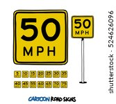 Speed Limit Sign. Cartoon...
