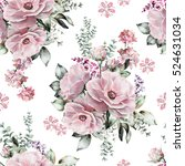Stock photo seamless pattern with pink flowers and leaves on white background watercolor floral pattern 524631034