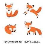cute fox set flat style. foxy... | Shutterstock .eps vector #524633668