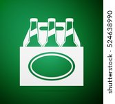 pack of beer flat icon on green ... | Shutterstock . vector #524638990